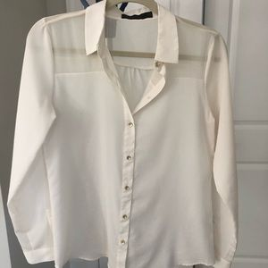 The Limited cream sheer dress shirt, size small